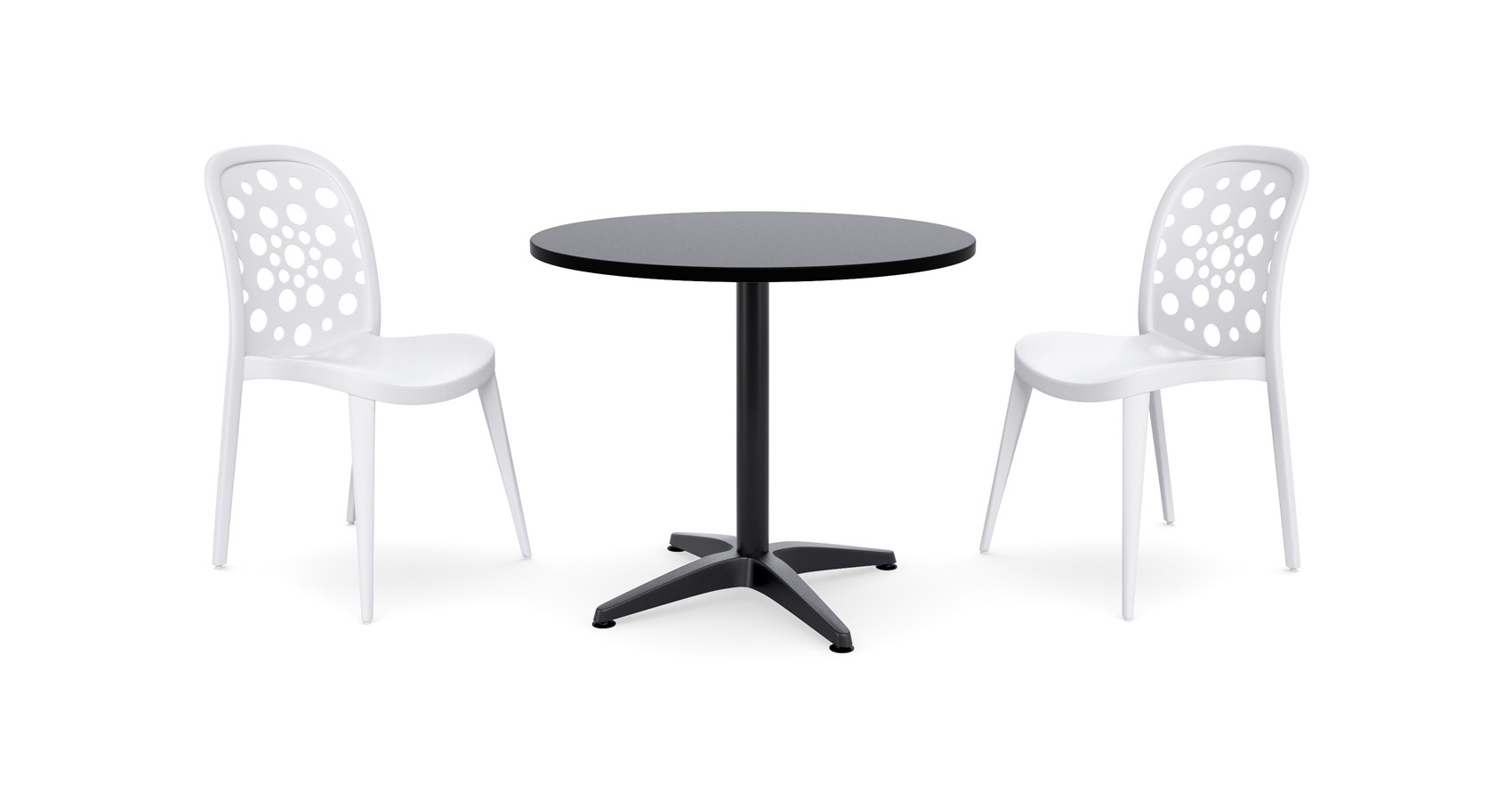 Moda Round Table Setting with Pop chairs