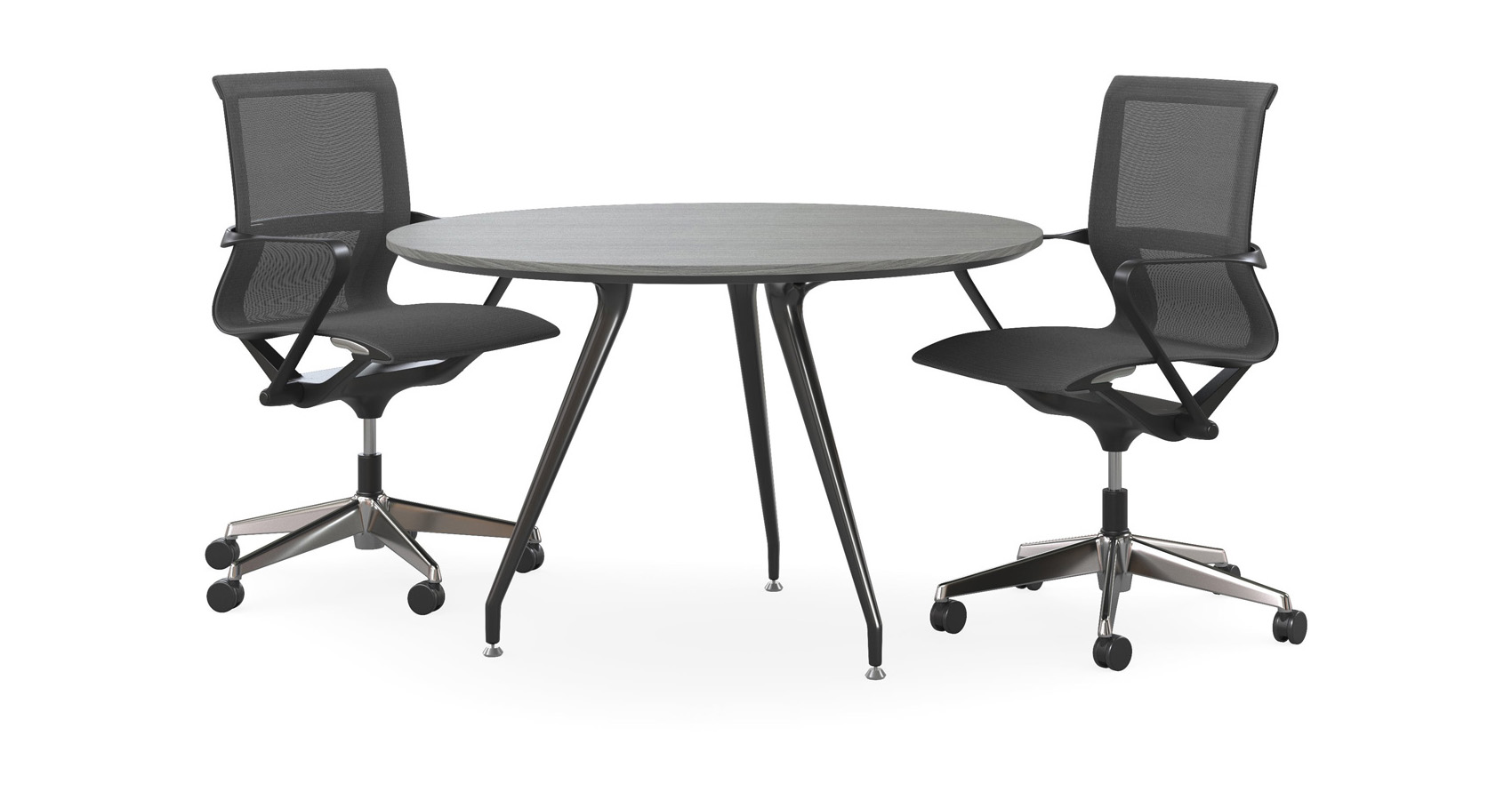 Velo Round Conference Table with Zed chairs