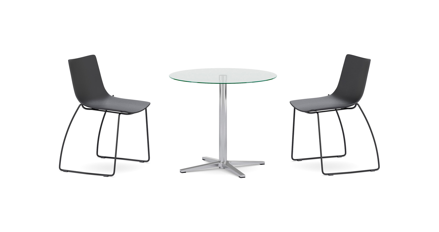 Wiz Round Glass Top Table with Zorro Chairs