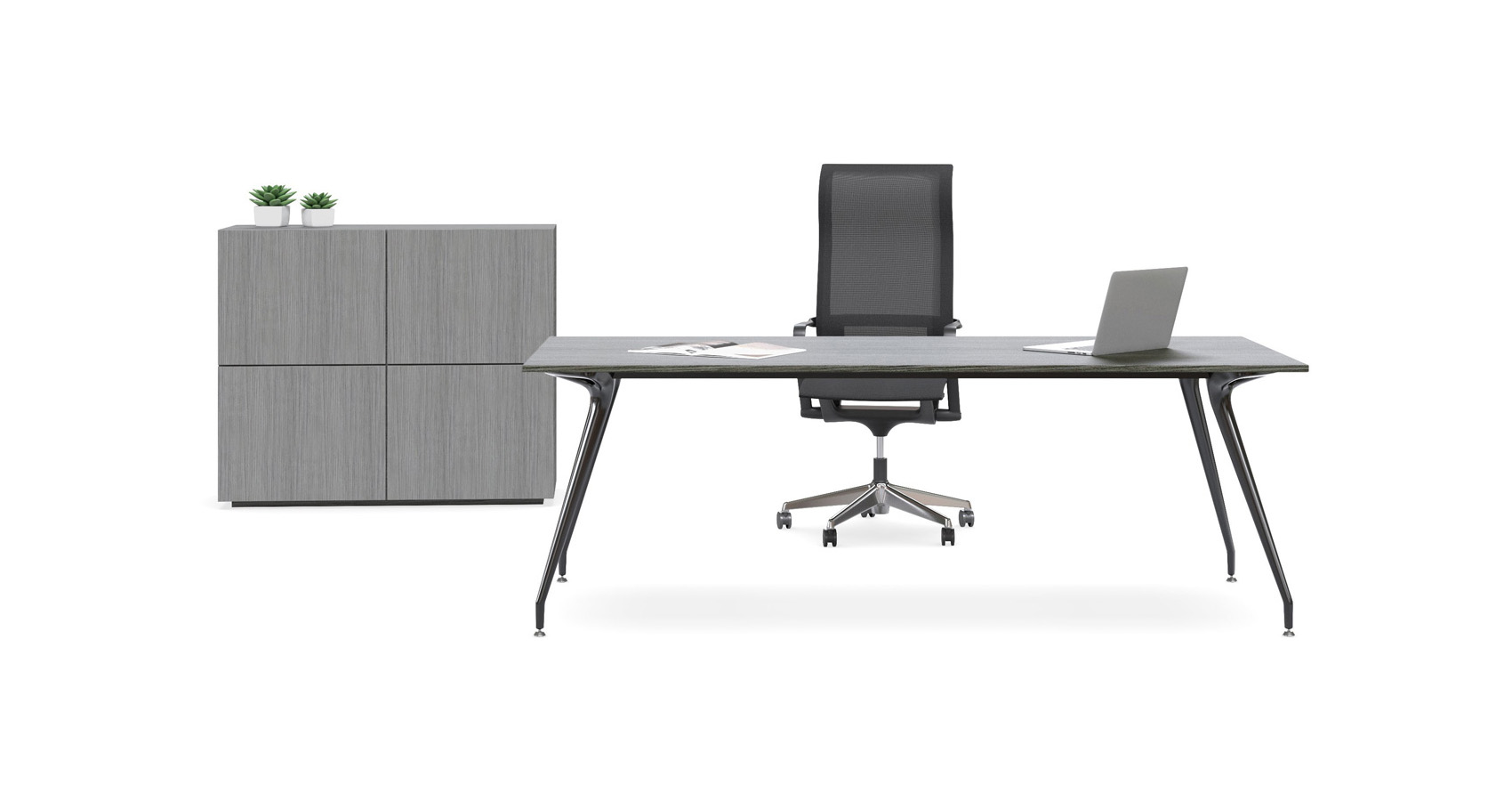 Dart Executive Desk with Dart Confence Table, Miro Chairs and Push Storage