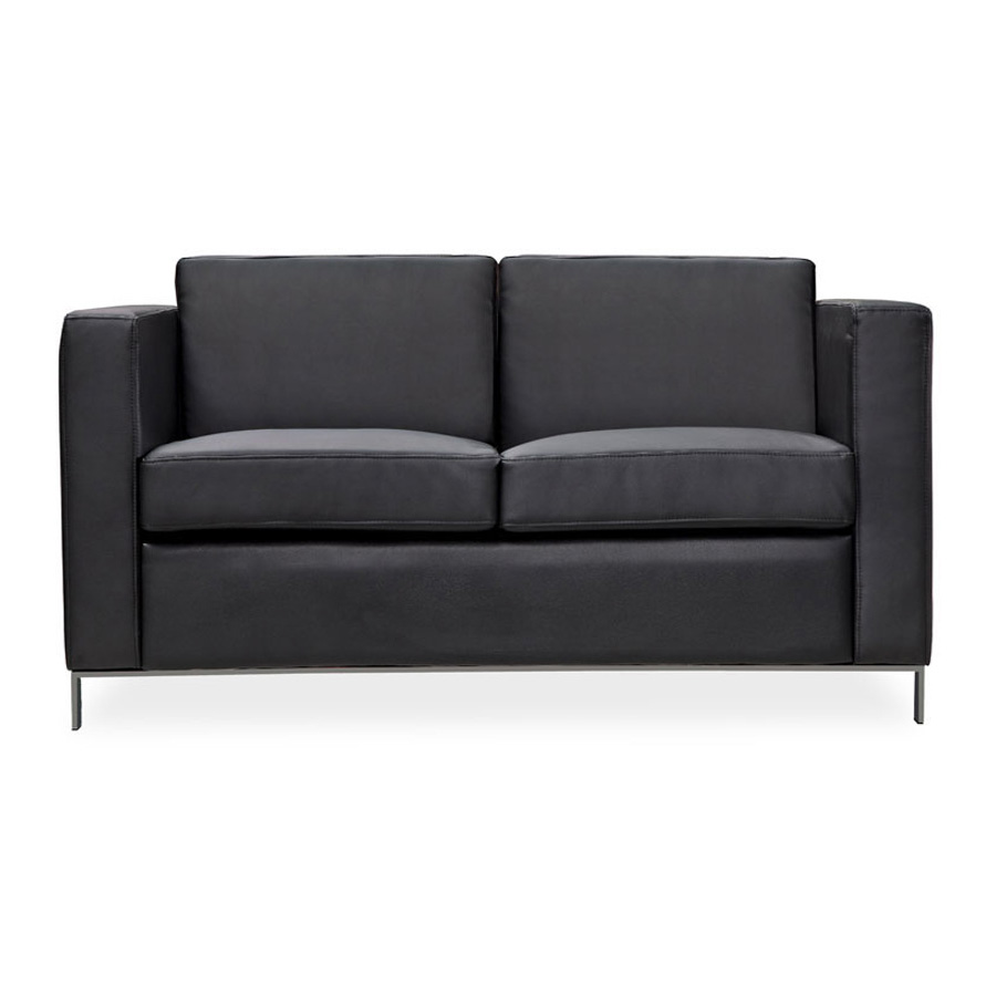 Art 2 Seater Lounge Black Leather DFV