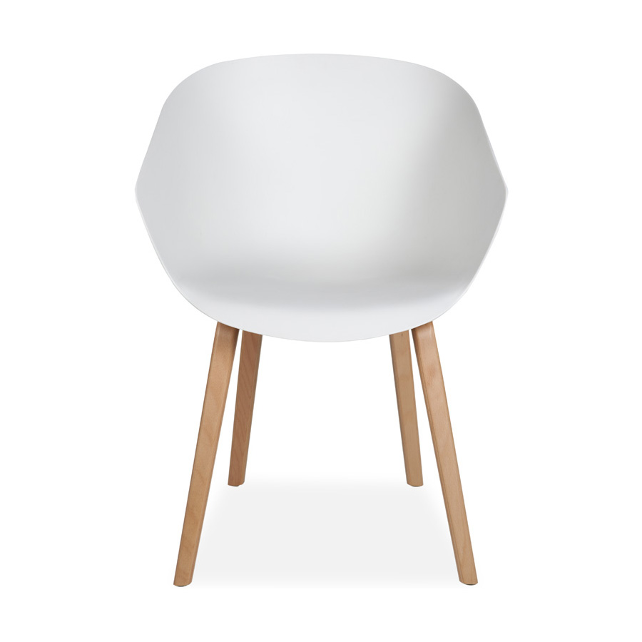 Madi Plastic Chair White Beech Legs