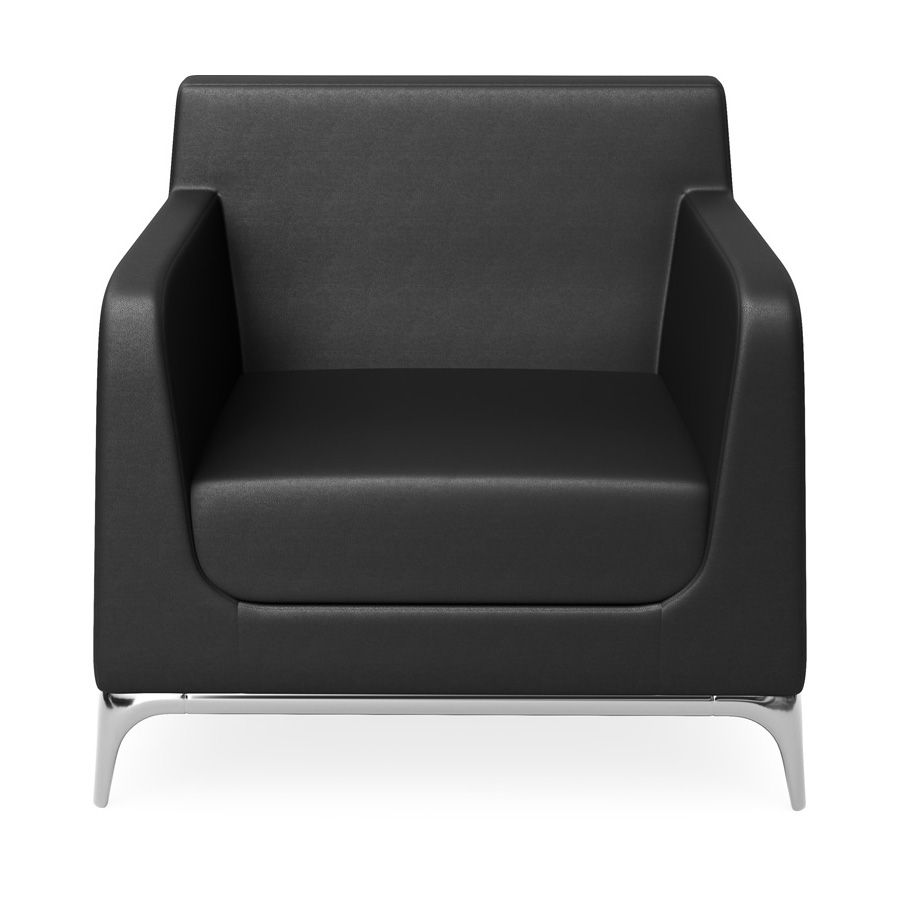 Tex 1 Seater Black Leather