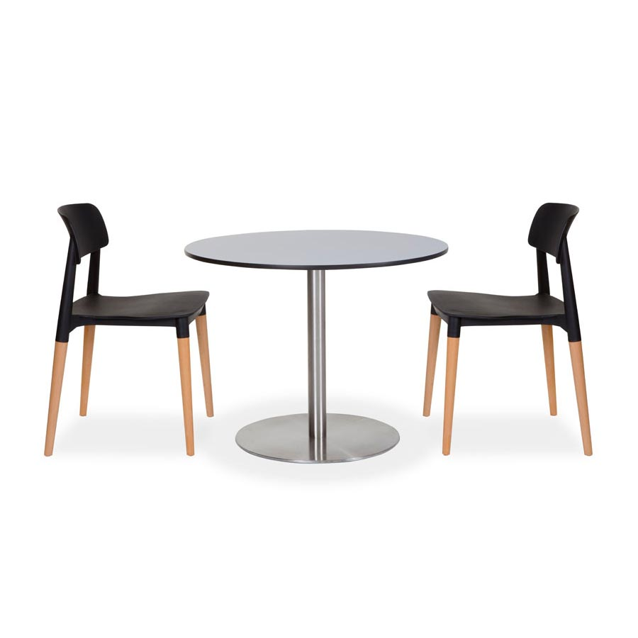 Cosmopolitan table with Compact laminate top and Black Mim chairs