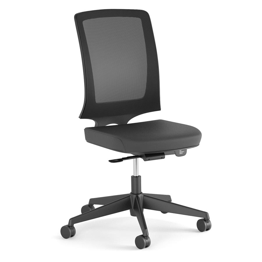 MM210K-Miro No Arms - Black Fabric Seat-Black Mesh Back