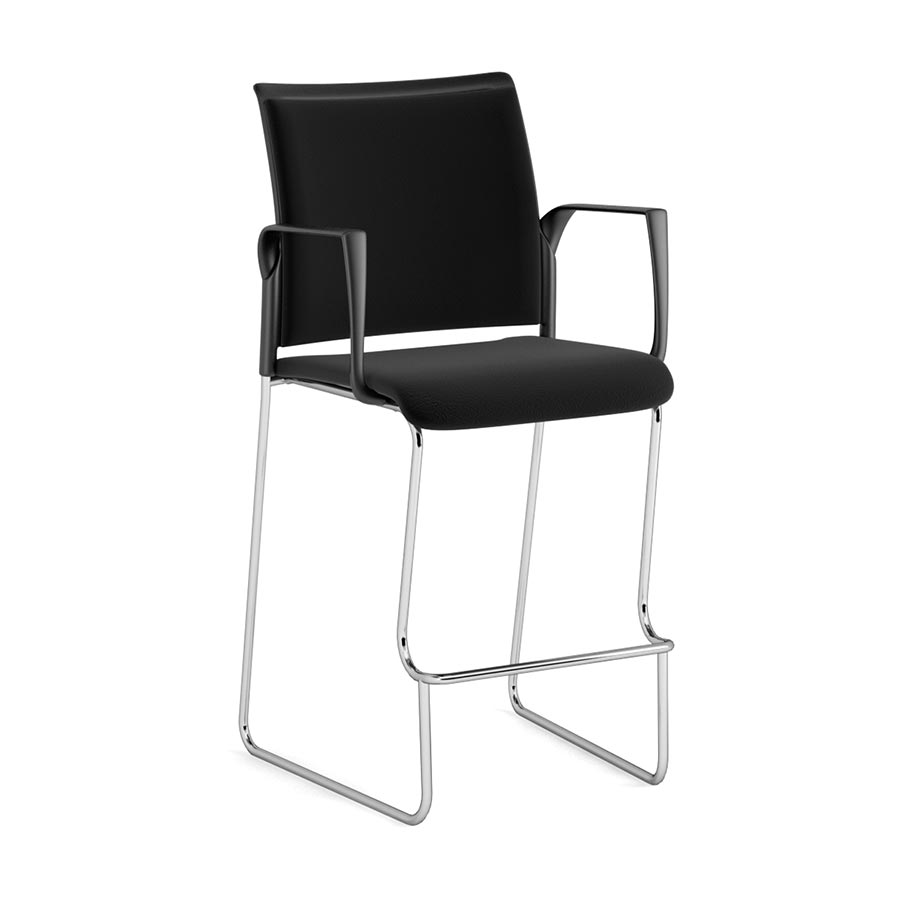 SD200B-Spyder Stool with Arms - Black Fabric Seat & Back