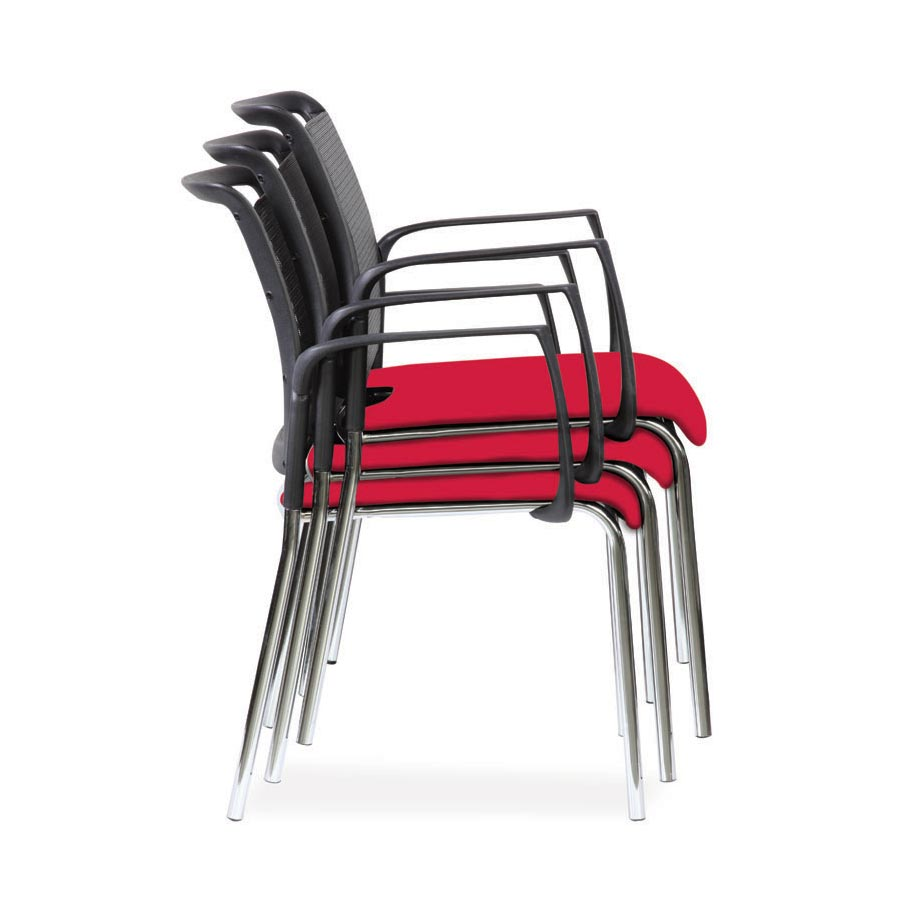 Spider Arm Chair Red Fabric Seat Stacking SV