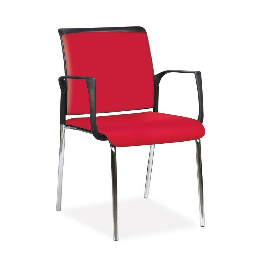 Spider Arm Chair Red Fabric Seat and Red Fabric Back FV