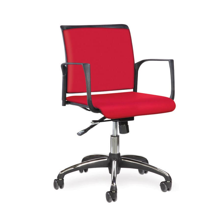 Spider Swivel Chair Red Fabric Seat and Red Fabric Back BV