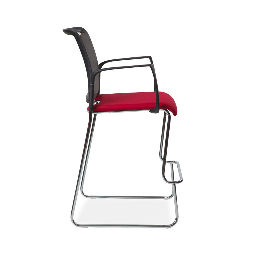 Spyder Sled Stool with Arms with Fabric Seat and Mesh Back SV