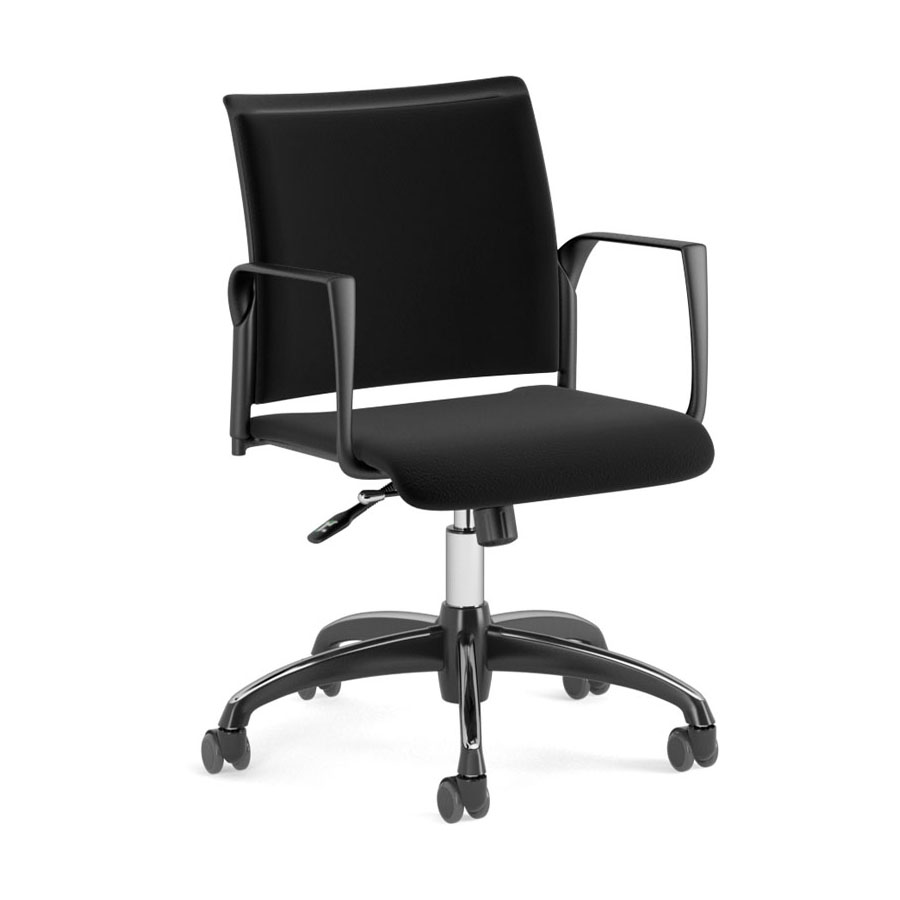 Spyder on Castors w-Arms - Black Fabric Seat-Black Fabric Back